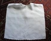 Antique Embroidered Linen Baby Child Bib