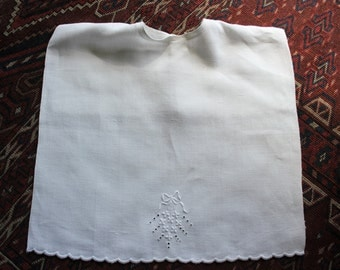 Antique Embroidered Linen Baby Child Bib
