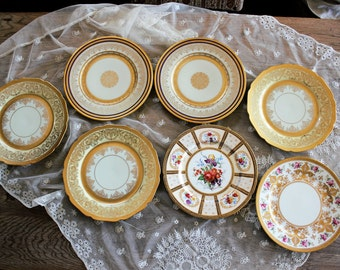 7 Antique Ornate Gilt Painted Dinner Plates Mismatched