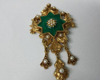 Florenza signed Art Glass Brooch Enamel and Pearls