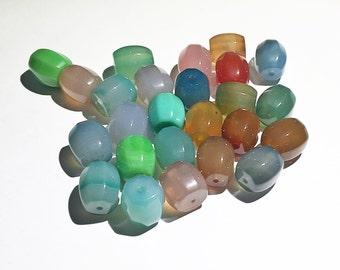 Agate chunky tube beads