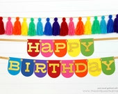 Rainbow Happy Birthday Panel Banner - Glittered Letters | Rainbow Party Decoration | Art Party | Rainbow Pony Garland | CUSTOMIZE the STYLE