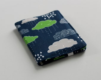 Rain Clouds Card Wallet, Navy Blue Slim Wallet, Navy and Green Cloud Wallet - PREORDER