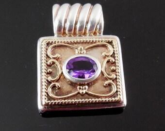 Designer Signed 14K Gold & Sterling Silver Pendant with Purple Gemstone