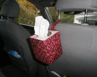 Car Tissue Caddies by Kaaachews- Fushia/Chocolate Brown Leopard Print