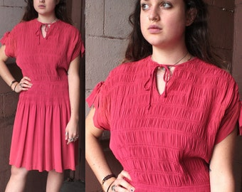 Vintage 1930's Dress // 30s 40s Lipstick Pink Rayon Crepe Day Dress // Smocked with Bows // Keyhole Tied Collar // DIVINE