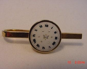 Vintage Roman Numerals Clock Face Tie Bar   16 - 478