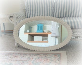 Large Oval Mirror, Vintage Syroco Antique White Mirror, Cream Framed Shabby Chic Mirror