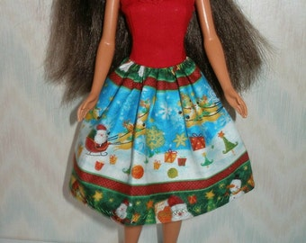 "Handmade 11.5"" fashion doll clothes -   Christmas dress"