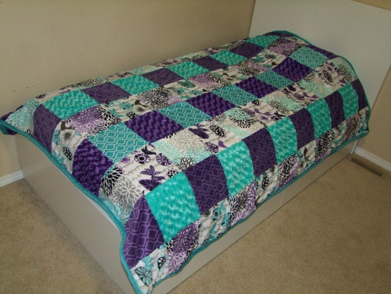 Items Similar To Twin Bedding Minky Aqua Purple Teal