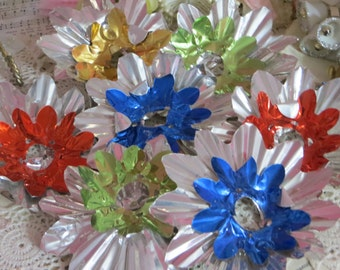 Vintage Metal Foil Christmas Light Reflectors