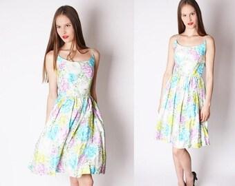 ON SALE 65% ends May 1st Neon 1950s Wedding Dress / Pastel Roses / Dress / Dresses / Mad Men / Vintage Wedding Dress / Floral / Flowers / Bo