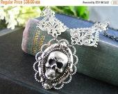 Oxidized silver brass filigree gothic skull necklace