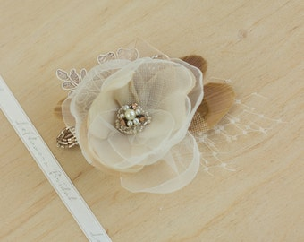 Champagne Wedding hair flower Bridal headpiece Bridal hair accessories champagne headpiece Rustic weddings Lace Rose Gold Ivory Sand