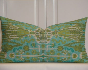 """SET Of TWO -  IKAT Decorative Pillow Cover - Fit 12"""" x 22"""" - Throw Pillow - Accent Pillow - Aqua - Blue - Olive Green"""