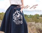 1960's Peacock Skirt / Embroidered Bird Fit and Flare / Midi Skirt / Medium