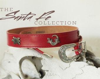 Vintage Leather Belt / Southwestern Red Belt with Silver Embellishments /