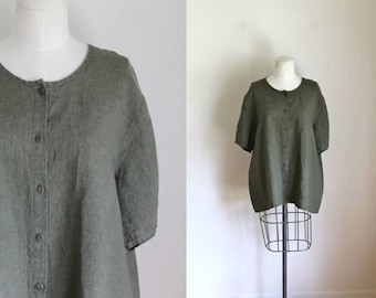 vintage 1990s flax linen top - OREGANO olive green flax button down blouse / M-L