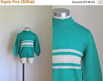40% OFF back2school SALE vintage 1960s little girl's sweater - PEPPERMINT Candy mint striped wool knit top / 10yr