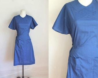vintage nurse uniform - SCRUBS blue wrap uniform dress / S