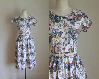 50% OFF...last call // vintage 1980s floral dress - ERIKA cabbage rose print cotton jersey dress / m
