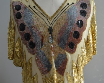 Vintage 70/80s Gold Silk Beaded Sequined Butterfly Top Street Style
