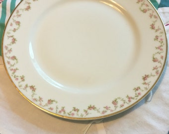 Vintage Luncheon Plate Dainty Pink Floral Theodore Haviland Limoges France #3910