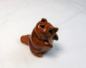 Beaver Terrarium Figurine - Forrest Animal - Miniature Beaver Figurine - Ceramic Animal - Clay Beaver - Pottery Animal