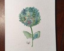 Hydrangea Original Watercolor Card / Hand Painted Watercolor Card