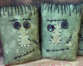 Primitive Frankenstein Bowl Fillers Raggedy Halloween Ornies set of three