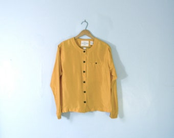 Vintage 80's yellow silk blouse, mustard yellow shirt, size small / medium