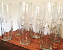 La Femme Nude Glasses -Set of 6. Vintage and in perfect, beautiful condition!