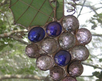Late Harvest Grape Cluster with Vine Stained Glass Suncatcher Ornament