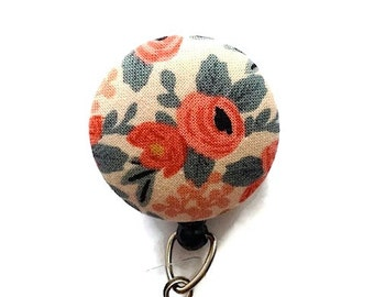 Floral Retractable Badge Holder Badge Reel Name Badge Holder ID Badge Holder Nurse Badge Reel Key Card Holder Badge Clip Cream Coral Blue
