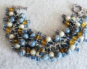 Charm Bracelet, Cha Cha Bracelet, Boho Bracelet, Bohemian Bracelet, Gypsy Bracelet, Boho Jewelry, Shabby Chic Bracelet - FADED DENIM