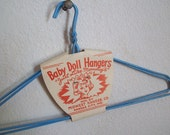 Vintage Baby Doll Hangers  1950s NOS baby blue wire hangers unused free shipping to USA