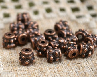 50pcs Metal Bead Antiqued Copper 6x6mm Beaded Tube