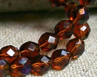 40pcs Fire-Polished Honey Blue Iris 10mm Bead Czech Glass Faceted Round