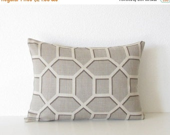 ON SALE Gray lattice 12x18 lumbar pillow cover