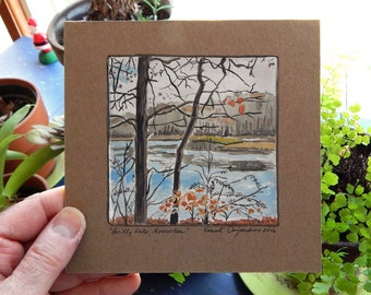 November at Griffy Lake Original Gouache Mini Painting on Gessoed Chipboard