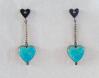 Turquoise Earrings, Dangly,  Sterling Silver, Heart Earrings, Gift for Her