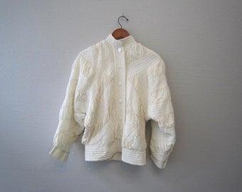 Vintage 80s Silk Ivory Jacket by Perlita