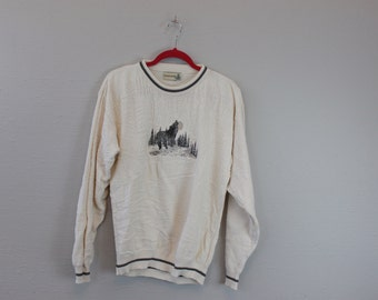 Vintage 90s Wolf Sweater by Field master