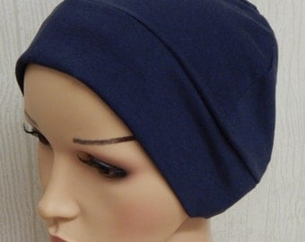 Navy blue chemo hat, women's cancer cap, beanie for chemotherapy, surgical head wear,cotton jersey sleeping bonnet, chemo beanie