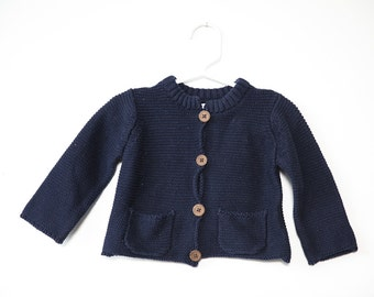 Vintage Navy Blue Knitted Baby Cardigan Sweater with Pockets and Wooden Buttons 9 months