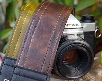 Brown and Vintage Green Reversible Camera Strap - with Green and Yellow Stitching - Vegan Made in USA