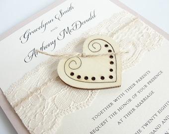 Heart Wedding Invitation, Glitter Invite, Wood Wedding Invitation, Rustic Wedding Invitation, Vintage Wedding Invitation,  WOODEN HEART