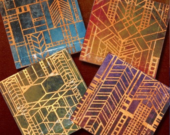 Prairie Style Copper Foil Window Coasters - 4 or 5 Inch Square Handmade Beveled Glass Copper FOILZ Coasters - City Lights