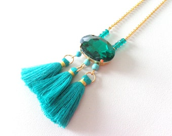 Emeral green Tassel necklace long green necklace big rhinestone necklace