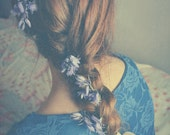 Red Hair Photography, Braid, Plait, Long Hair, Girl,Square Print, Blue Lace, Bluebells, Spring Flowers, Vintage Style, 8x8 Print, Belle..
